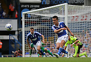 Ipswich Town defender Jonas Knudsen clears the danger during the Sky Bet Championship match between Ipswich Town and Brighton and Hove Albion at Portman Road, Ipswich, England on 29 August 2015.