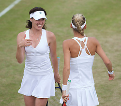 LONDON, ENGLAND - Tuesday, June 29, 2010: Martina Hingis (SUI) and Anna Kournikova (RUS) during the Ladies' Invitation Doubles match on day eight of the Wimbledon Lawn Tennis Championships at the All England Lawn Tennis and Croquet Club. (Pic by David Rawcliffe/Propaganda)