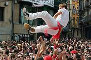 The San Fermin festival begins with chupinzo explosion of joy and 8 days of partying in the Plaza del Ayuntamiento de Pamplona. 8 Running of the Bulls<br /> <br /> La fiesta de san fermin comienza con el chupinzo, explosi&oacute;n de alegria y 8 dias de juerga, en la plaza del ayuntamiento de Pamplona. 8 encierros de toros