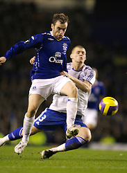 Liverpool, England - Wednesday, December 5, 2007: Everton's James McFadden and Zenit St. Petersburg's Martin Skrtel during the UEFA Cup Group A match at Goodison Park. (Photo by David Rawcliffe/Propaganda)