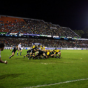 New Zealand win a scrum during the Australia V New Zealand Final match at the IRB Junior World Championships in Argentina. New Zealand won the match 62-17 at Estadio El Coloso del Parque, Rosario, Argentina,. 21st June 2010. Photo Tim Clayton...