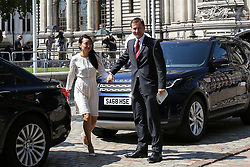 © Licensed to London News Pictures. 23/07/2019. London, UK. Foreign Secretary and Conservative Party leadership contender Jeremy Hunt  (R) arrives for the result of the Conservative Party leadership race at  QEII Centre and his wife Lucia Hunt (R). Photo credit: Dinendra Haria/LNP
