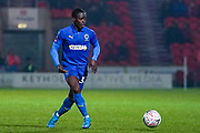 AFC Wimbledon defender Paul Osew (37) passes the ball during the The FA Cup match between Doncaster Rovers and AFC Wimbledon at the Keepmoat Stadium, Doncaster, England on 19 November 2019.