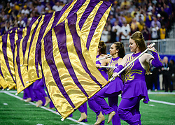 LSU Tigers flag corp prior to the 2019 College Football Playoff Semifinal at the Chick-fil-A Peach Bowl on Saturday, Dec. 28, in Atlanta. (Vasha Hunt via Abell Images for the Chick-fil-A Peach Bowl)