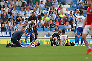 Brighton & Hove Albion central midfielder Beram Kayal (7) and Brighton & Hove Albion winger Anthony Knockaert (11) receive treatment on the pitch during the EFL Sky Bet Championship match between Brighton and Hove Albion and Barnsley at the American Express Community Stadium, Brighton and Hove, England on 24 September 2016.