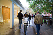 A group departs Nelson Dinning Hall on their Residence Hall Viewing tour for Homecoming Weekend on Oct. 10, 2014.