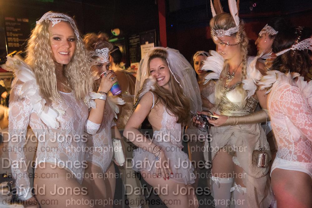 SARA AGOSTINI, CENTRE; BRIDE, HEN NIGHT, LOST HEARTS , A VALENTINE'S MASQUERADE BALL 2016 at the Coronet Theatre,  Elephant and Castle, London. 12th February 2016