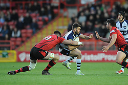 Bristol Rugby's Craig Hampson is challenged by Jersey Rugby's Dave Markham - Photo mandatory by-line: Dougie Allward/JMP - Mobile: 07966 386802 - 17/04/2015 - SPORT - Rugby - Bristol - Ashton Gate - Bristol Rugby v Jersey - Greene King IPA Championship
