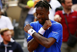 May 30, 2019 - Paris, France - Gael Monfils of France celebrates victory during his mens singles second round match against Adrian Mannarino of France during Day five of the 2019 French Open at Roland Garros on May 30, 2019 in Paris, France. (Credit Image: © Ibrahim Ezzat/NurPhoto via ZUMA Press)