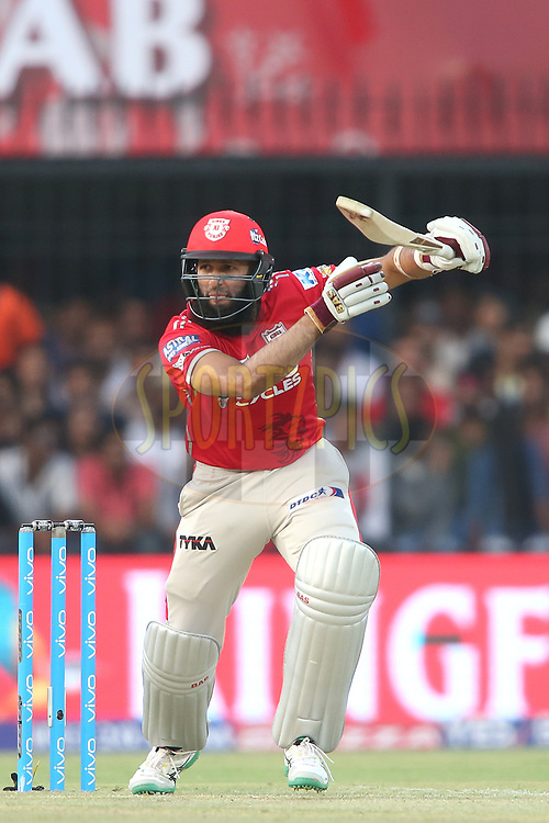 Hashim Amla of Kings XI Punjab looks for a run during match 4 of the Vivo 2017 Indian Premier League between the Kings XI Punjab and the Rising Pune Supergiant held at the Holkar Cricket Stadium in Indore, India on the 8th April 2017<br /> <br /> Photo by Shaun Roy - IPL - Sportzpics