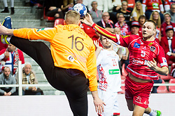 Vytautas Ziura of Austria during handball match between National teams of Belarus and Austria on Day 1 in Preliminary Round of Men's EHF EURO 2018, on January 12, 2018 in Arena Zatika, Porec, Croatia. Photo by Ziga Zupan / Sportida