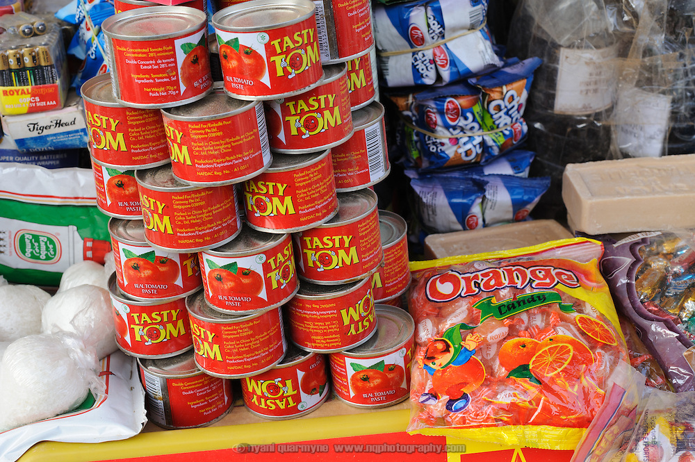At 125 FCFA a can, tinned goods such as this tomato paste in a market in Zinder in southern Niger, are out of the reach of many.