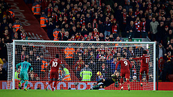 LIVERPOOL, ENGLAND - Saturday, December 29, 2018: Liverpool's Mohamed Salah scores the fourth goal, from a penalty kick past the Arsenal's goalkeeper Bernd Leno, during the FA Premier League match between Liverpool FC and Arsenal FC at Anfield. (Pic by David Rawcliffe/Propaganda)