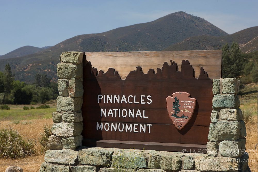 National Park Service welcome sign to Pinnacles National Monument, California, USA