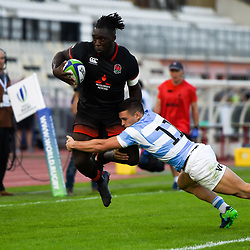 Gabriel Ibitoye of England and Mateo Carreras of Argentina during the World Championship U 20 match between England and Argentina on May 30, 2018 in Narbonne, France. (Photo by Alexandre Dimou/Icon Sport)