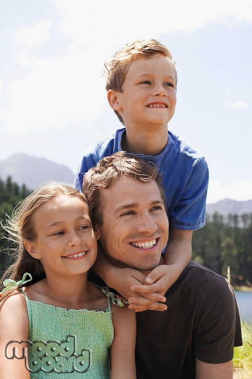 Father with Two Children Outdoors