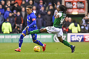 40 Stephane Omeonga challenges 2 James Tavernier during the Ladbrokes Scottish Premiership match between Hibernian and Rangers at Easter Road, Edinburgh, Scotland on 8 March 2019.