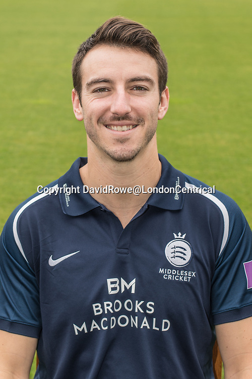 11 April 2018, London, UK.  Toby Roland-Jones of Middlesex County Cricket Club in the   blue Royal London one-day kit . David Rowe/ Alamy Live News