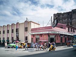 Old Havana, Cuba. Havana vieja, street. Bar, restaurant, Floridita. Dilapetated, collapsing houses