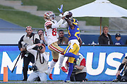 Dec 30, 2018; Los Angeles, CA, USA; San Francisco 49ers wide receiver Kendrick Bourne (84) battles with Los Angeles Rams defensive back Nickell Robey-Coleman (23) to score a touchdown at Los Angeles Memorial Coliseum. The Rams defeated the 49ers 48-31.  (Robin Alam/Image of Sport)
