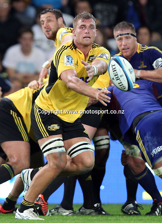 Brad Shields of the Hurricanes passes the ball.<br /> Super Rugby - Highlanders v Hurricanes, 15 March 2013, Forsyth Barr Stadium, Dunedin, New Zealand.<br /> Photo: Rob Jefferies / photosport.co.nz