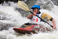 Michael Dee of St. Louis, Missouri races in the K1 men's short plastic class during the slalom course of the 42nd Annual Missouri Whitewater Championships. Dee placed second place in the class. The Missouri Whitewater Championships, held on the St. Francis River at the Millstream Gardens Conservation Area, is the oldest regional slalom race in the United States.