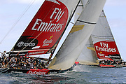 Emirates Team New Zealand, NZL84 and NZL92 (L) cross in a practice race on the Hauraki Gulf. 15/11/2006