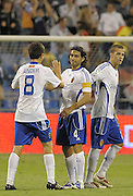 Fabian Ayala (middle) celebrates the victory with Ander (left). Real Zaragoza v Tenerife 1-0 in La Romareda the first game of the 2009/2010 LA LIGA season, 29th August 2009