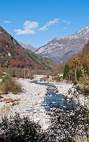 Looking up the river valley in autumn in Valle Verzasca, Ticino, Southern Switzerland.