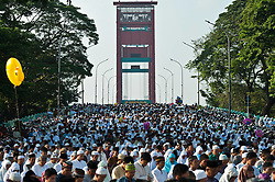 Image ©Licensed to i-Images Picture Agency. 28/07/2014. South Sumatera Province. Indonesia. <br /> 61981794<br /> Muslims gather on the main way in front of the Great Mosque Palembang to attend the Eid Al-Fitr celebration in Palembang, South Sumatera Province in Indonesia, on July 28, 2014. Eid Al-Fitr marks the end of the Muslim fasting month of Ramadan. Picture by  imago / i-Images<br /> UK ONLY