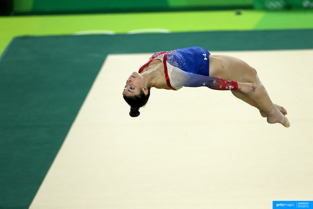 Gymnastics - Olympics: Day 11  Alexandra Raisman of the United States performs her routine on the floor exercise which won her the silver medal during the Apparatus Finals at the Rio Olympic Arena on August 16 , 2016 in Rio de Janeiro, Brazil. (Photo by Tim Clayton/Corbis via Getty Images)