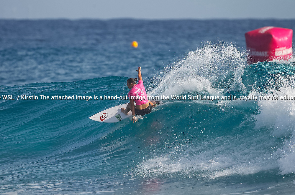 Tyler Wright of Australia (pictured) winning her Round 1 heat at the Roxy Pro Gold Coast on Saturday March 12, 2016. Wright posted an excellent 8.00 point ride (out of ten) to advance directly into Round 3. IMAGE CREDIT: WSL / Kirstin PHOTOGRAPHER: Kirstin Scholtz SOCIAL MEDIA TAG: @wsl @kirstinscholtz The attached image is a hand-out image from the World Surf League and is royalty free for editorial use only, no commercial rights granted. The copyright is owned by World Surf League. Sale or license of the images is prohibited. ALL RIGHTS RESERVED.