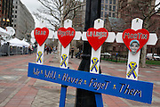 April 14, 2014 - Boston, Massachusetts, USA - <br /> <br /> Boston Marathon Bombing Anniversary<br /> <br /> Hundreds gather at the Boston Marathon finish line in Boston, Massachusetts to mark the one year anniversary of the Boston Marathon Bombing with a flag raising event and moment of silence. United States Vice President Joe Biden attended the event. A wreath lays outside the Forum restaurant where the second blast occurred <br /> ©Exclusivepix