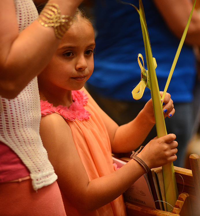 apl040917b/ASECTION/pierre-louis/JOURNAL 040917<br /> 7 year-old Madyssen Macias,, holds her  palms to be blessed  during the 12:15 pm Mass at Our Lady of the Most Holy Rosary Catholic Church on Albuquerque West Mesa. Palm Sunday marks the beginning of Holy Week for Christians. Photographed on Sunday April 9, 2017. .Adolphe Pierre-Louis/JOURNAL