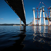 August 4, 2016 - Nyack / Grand View-On-Hudson / Tarrytown / Lyndhurst, NY : A view of the new (under-construction) and old (existing) Tappan Zee Bridges, from the water. John Lipscomb, the boat captain for the environmental group Riverkeeper (not visible), brought this photographer down the river to view the existing anchorages and some of the proposed anchorage sites for a story on a proposal to add 30 anchorage sites to the river between Yonkers and Kingston. CREDIT: Karsten Moran for The New York Times