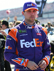 October 14, 2018 - Talladega, AL, U.S. - TALLADEGA, AL - OCTOBER 14: Denny Hamlin, Joe Gibbs Racing, Toyota Camry FedEx Ground (11) on pit road before the 1000Bulbs.com 500 on October 14, 2018, at Talladega Superspeedway in Tallageda, AL.(Photo by Jeffrey Vest/Icon Sportswire) (Credit Image: © Jeffrey Vest/Icon SMI via ZUMA Press)