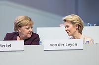 22 NOV 2019, LEIPZIG/GERMANY:<br /> Angela Merkel (L), CDU, Bundeskanzlerin, und Ursula von der Leyen (R), CDU, gewaehlte Praesidentin der Europaeischen Kommission, im Gespraech, CDU Bundesparteitag, CCL Leipzig<br /> IMAGE: 20191122-01-049<br /> KEYWORDS: Parteitag, party congress, Gespräch