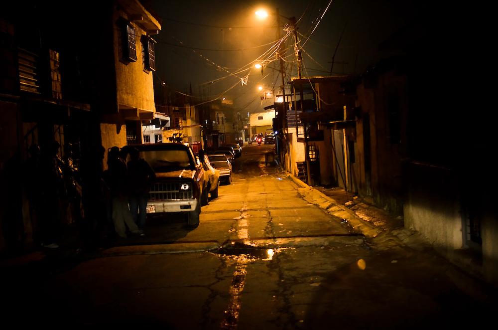 Petare slum at night. Caracas, Venezuela.