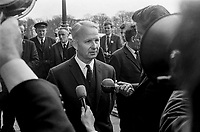 Brian Faulkner, MP, Ulster Unionist, new N Ireland Minister for Development meets media outside Parliament Buildings, Stormont, following his appointment, 1st May 1969. He lost the premiership to Major James Chichester-Clark. 196905016548.<br /> <br /> Copyright Image from Victor Patterson, 54 Dorchester Park, <br /> Belfast, UK, BT9 6RJ<br /> <br /> t1: +44 28 9066 1296 (from Rep of Ireland 048 9066 1296)<br /> t2: +44 28 9002 2446 (from Rep of Ireland 048 9002 2446)<br /> m: +44 7802 353836<br /> <br /> e1: victorpatterson@me.com<br /> e2: victorpatterson@gmail.com<br /> <br /> www.victorpatterson.com<br /> <br /> Please see my Terms and Conditions of Use at VICTORPATTERSON.COM. It is IMPORTANT that you familiarise yourself with them.<br /> <br /> Images used on the Internet must be visibly watermarked i.e. ©VICTORPATTERSON.COM within the body of the image and copyright metadata must not be deleted. Images used on the Internet have a size restriction of 4kbs and are chargeable at the then current NUJ rates.<br /> <br /> This image is only available for the use of the download recipient i.e. television station, newspaper, magazine, book publisher, etc, and must not be passed on to any third party. It is also downloaded on condition that each and every usage is notified within 7 days to victorpatterson@me.com<br /> <br /> The right of Victor Patterson to be identified as the author is asserted in accordance with The Copyright Designs And Patents Act (1988).