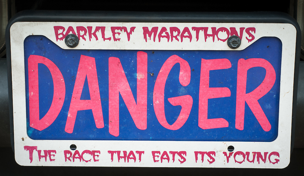 License plate at the Barkley Marathons in Frozen Head State Park, TN.