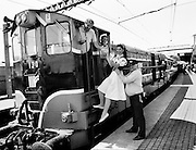 The Mosney Holiday Express, about to set off from Connolly Station, Dublin, for its run to Mosney Holiday Camp, County Meath. The express was sent on its way by Snow White (Lorraine McCourt), who had left the seven dwarfs at the Olympia Theatre in Dublin.<br />