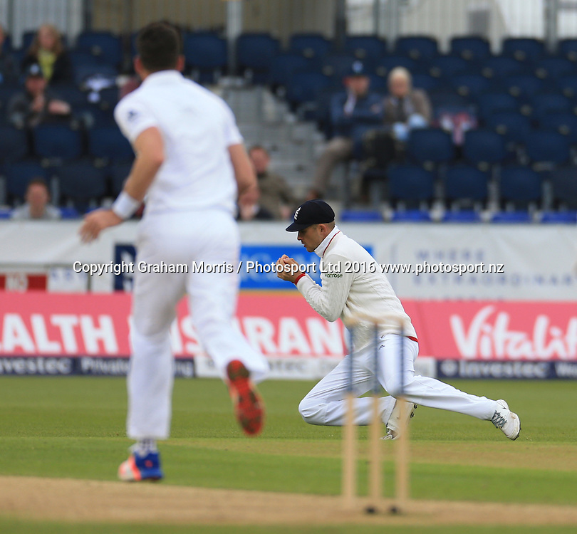 Alex Hales catches Milinda Siriwardana off the bowling of James Anderson (left) during the second Investec Test Match between England and Sri Lanka at Chester-le-Street, Durham. Photo: Graham Morris/ Photosport.nz