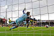 Tim Krul (1) of Norwich City dives to cover a Callum Wilson (13) of AFC Bournemouth shot at goal during the Premier League match between Bournemouth and Norwich City at the Vitality Stadium, Bournemouth, England on 19 October 2019.