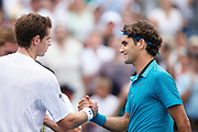 CINCINNATI, OH - AUGUST 22: Andy Murray of Great Britain congratulates Roger Federer of Switzerland after their match during day six of the Western & Southern Financial Group Masters on August 22, 2009 at the Lindner Family Tennis Center in Cincinnati, Ohio. Federer defeated Murray 6-2, 7-6. (Photo by Joe Robbins)