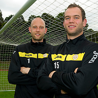 St Johnstone sign keeper Alan Mannus from Irish club Shamrock Rovers, he is pictured with Peter Enckelman...21.07.11<br /> see story by Gordon Bannerman Tel: 07729 865788<br /> Picture by Graeme Hart.<br /> Copyright Perthshire Picture Agency<br /> Tel: 01738 623350  Mobile: 07990 594431
