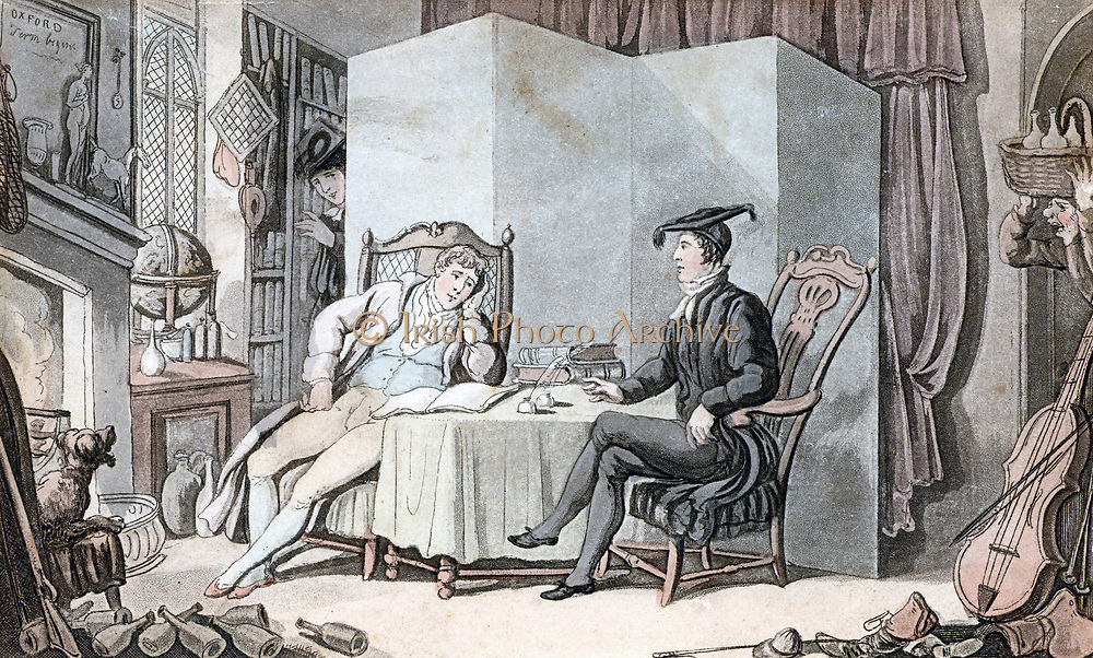 Student life in Oxford showing typical cluttered student's room, with empty bottles, gun, boots and saddle tossed on the floor and pet dog occupying a fireside chair. Such a scene could also apply to Cambridge at this time. Aquatint after illustration by Thomas Rowlandson (1756-1827). Published c1812.