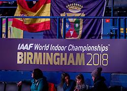 02-02-2018 GBR: World Indoor Championships Athletics day 2, Birmingham<br /> Boarding, vlaggen, Spanje, logo