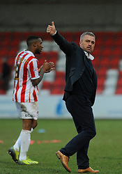 Cheltenham Town Manager, Russell Milton applauds fans after the final whistle. - Photo mandatory by-line: Nizaam Jones - Mobile: 07966 386802 - 28/02/2015 - SPORT - Football - Cheltenham- Whaddon Road - Cheltenham Town v Tranmere Rovers - Sky Bet League Two