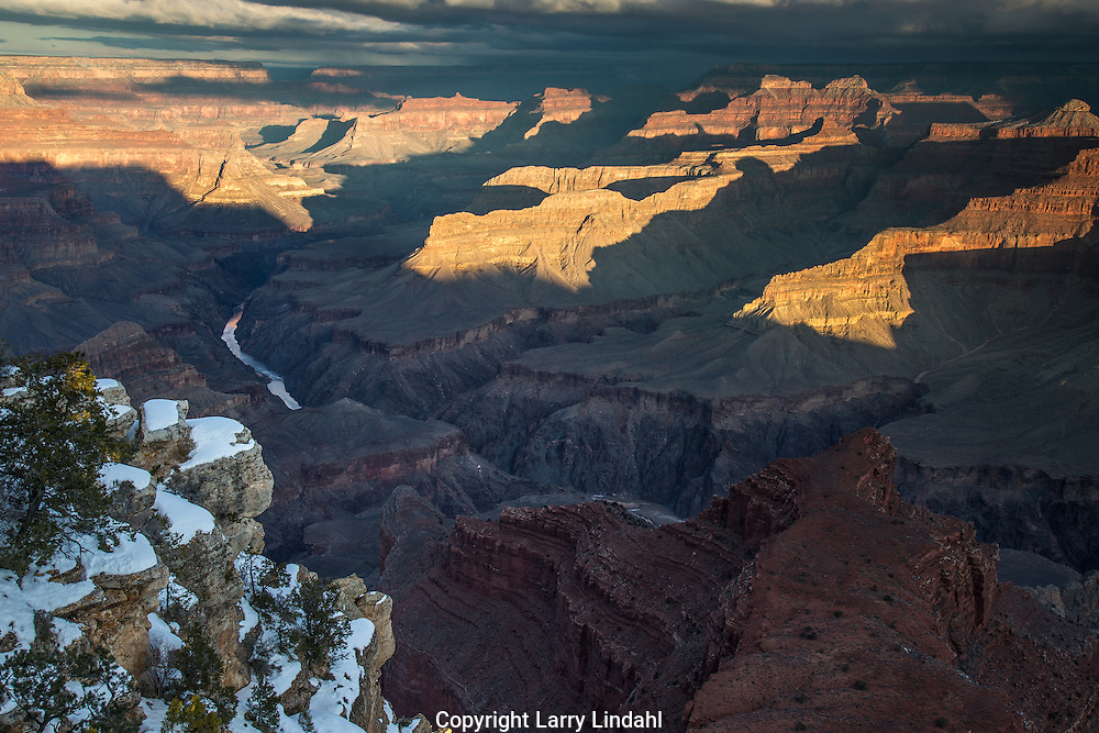 Grand Canyon, snow, Mojave Point, Colorado River, West Rim, Arizona,