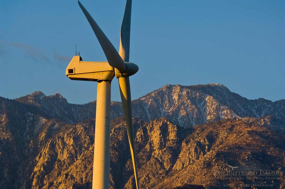 Windmill at wind farm at sunrise, below the San Jacinto Mountains, Palm Springs, California